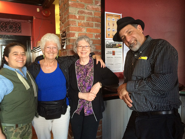 Nadine Antoinette Maestas, Linda Crosfield, Mary Ann Moore and Paul Nelson at The Globe, Nanaimo following the Cascadia Poetry Festival, May 3, 2015. Photo: Christine Lowther