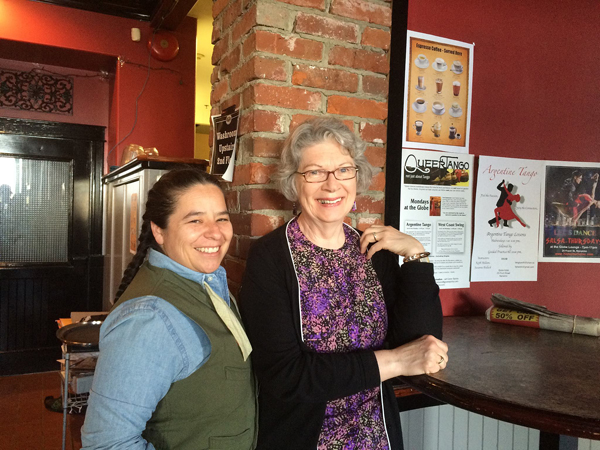 Nadine Antoinette Maestas and Mary Ann Moore at The Globe, Nanaimo following the Cascadia Poetry Festival, May 3, 2015. Photo: Christine Lowther
